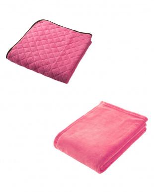 ピンク  NISHIKAWA LIVING HAPPY BAG(マイクロファイバー敷きパッド+軽量毛布セット シングル)見る