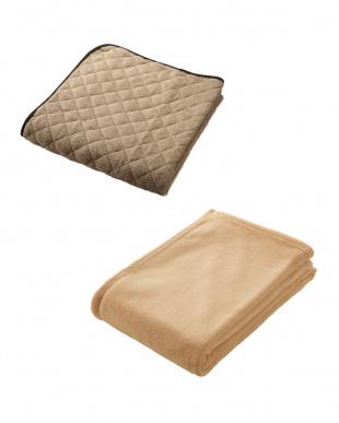 ベージュ  NISHIKAWA LIVING HAPPY BAG(マイクロファイバー敷きパッド+軽量毛布セット ダブル)見る