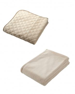 クリーム  NISHIKAWA LIVING HAPPY BAG(マイクロファイバー敷きパッド+軽量毛布セット ダブル)見る