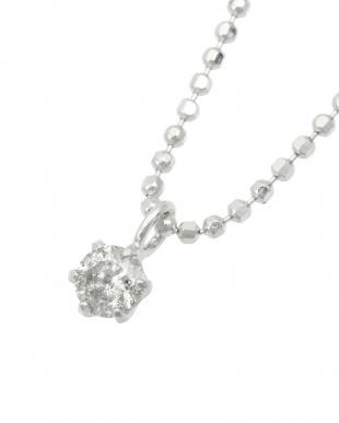 SV 天然ダイヤモンド0.1ct 6本爪ネックレス見る