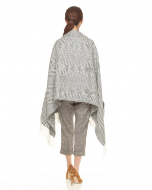 GREY WHITE  HEAVY HERRINBONE  POCKET SHAWL見る