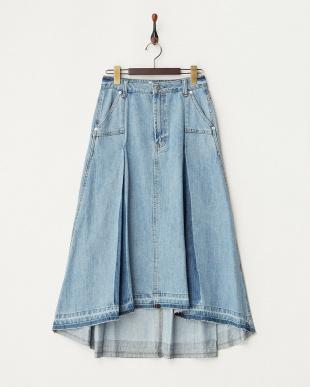 ブルー ボックスプリーツ デニム ロングスカート見る