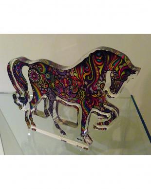 馬(カラフルペイント調) アクリル製 置物見る