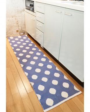 ブルー  流水でキレイになるキッチンマット Anika見る