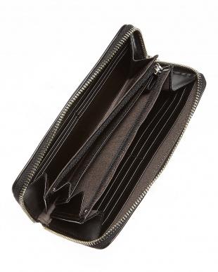 ブラック ラウンドファスナー長財布見る