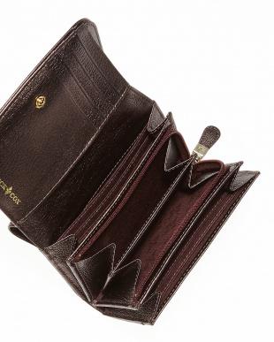 ボルドー  ビジューカルテットリリー 二つ折り財布見る