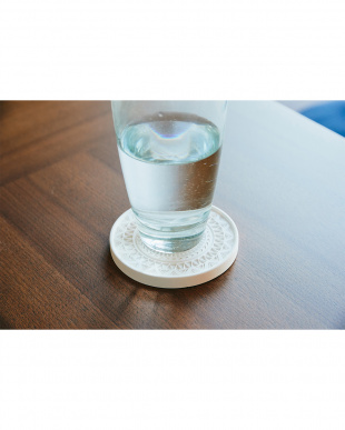 ホワイト  珪藻土コースター Plus デザイン 4枚セット見る
