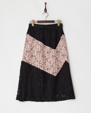 ブラック レースプリーツ切替スカート見る