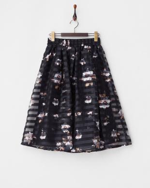 ネイビー フラワーボーダースカート見る