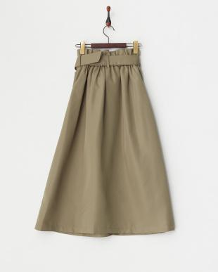 カーキ  ベルト付きタックロングスカート見る