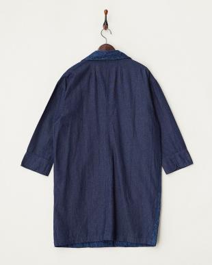 ブルー 刺繍デニムコート見る
