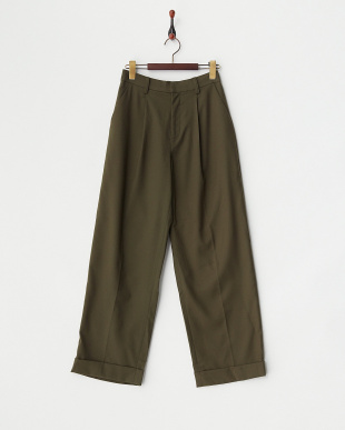 OLIVE TUCKED WIDE PANTS見る