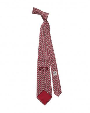 レッド系 シルク 総柄ネクタイ見る