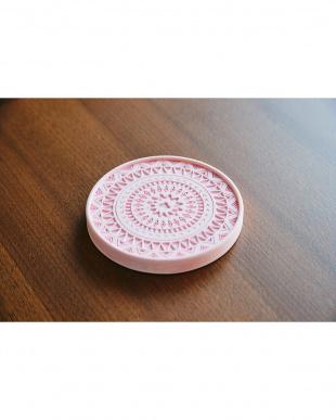 ピンク  珪藻土コースター+ デザイン 4個セット見る