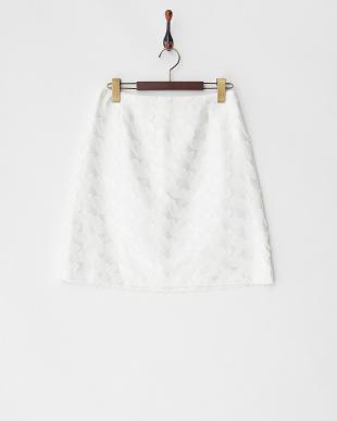 ホワイト 幾何柄ジャカードスカート見る