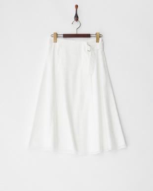 ホワイト ラップ風シアーボーダースカート見る