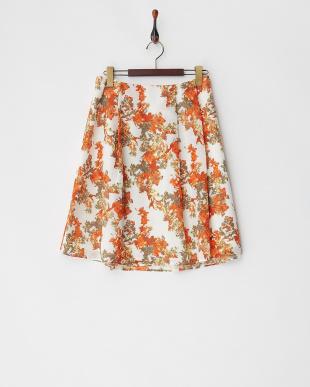 オレンジ系 フラワーメッシュスカート見る