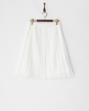 ホワイト  チュールレースギャザーフレアスカート見る