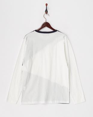 オフホワイト  ランダムパッチワークロングスリーブTシャツ見る