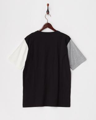 ブラック  ランダムパッチワークTシャツ見る