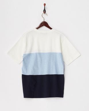 ブルー  ミックス3パネルTシャツ見る