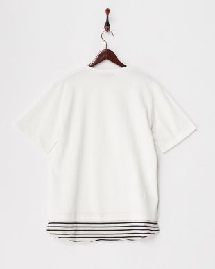 ホワイト  フェイクレイヤードTシャツ見る
