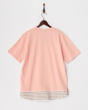 ピンク  フェイクレイヤードTシャツ見る