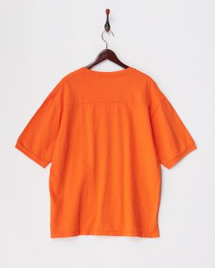 オレンジ  リラックスフィットスウェットTシャツ見る