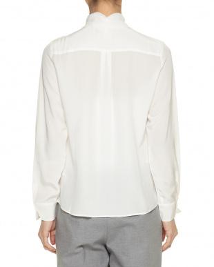ホワイト  ポイントレースシルクシャツ見る