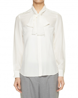 ライトブルー  ポイントレースシルクシャツ見る