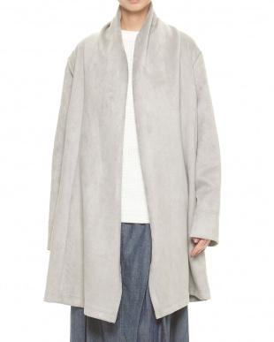 グレー  ストレッチスエード調 羽織りジャケット見る