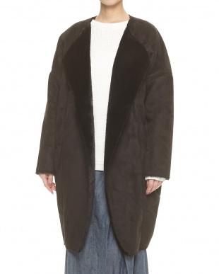 クロ  フェイクムートン 羽織りコート見る