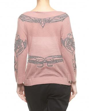 ピンク ラメジャカード メッシュセーター見る