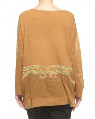 ブラウン メッシュスリーブ ラメジャカードセーター見る