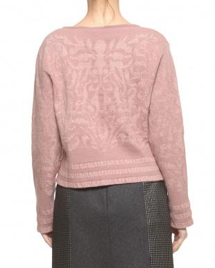 ピンク  起毛ジャカードセーター見る