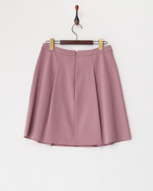 ピンク  タック入り台形スカート見る