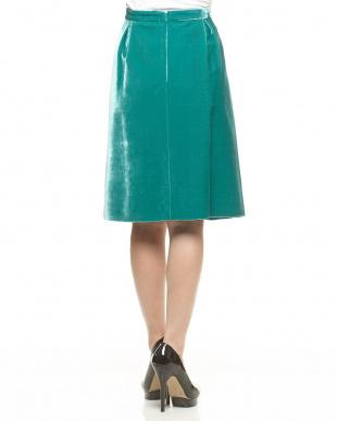 グリーン リーフ柄 ベルベットスカート見る