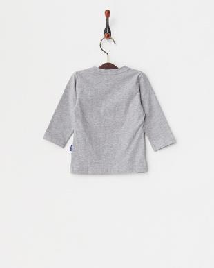 グレー  スニーカープリント長袖Tシャツ見る