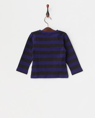 黒×青  ぶたさん刺繍長袖ボーダーTシャツ見る