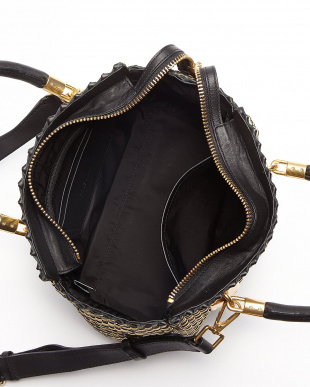 BLACK/GOLD  BENSON II WOVEN SMALL SQUARE TOTE バッグ見る
