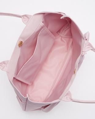 ピンク ブレードリボントートバッグ見る