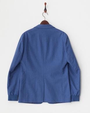 ブルー 袖リブテーラードジャケット見る