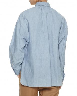 ブルー  ドロップショルダーシャツ見る