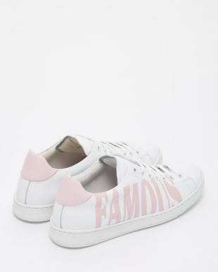 ピンク×ホワイト  ロゴデザインスニーカー見る