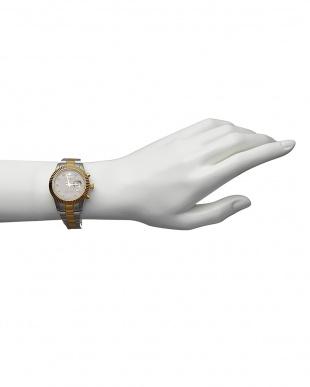 ゴールド  ダイヤ付き ソーラー電波腕時計 026 WOMEN見る