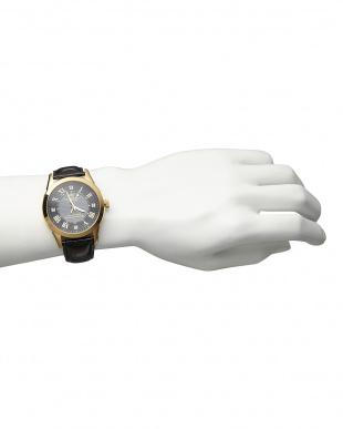 ゴールド/ブラック  ダイヤ付き ソーラー電波腕時計 085|MEN見る