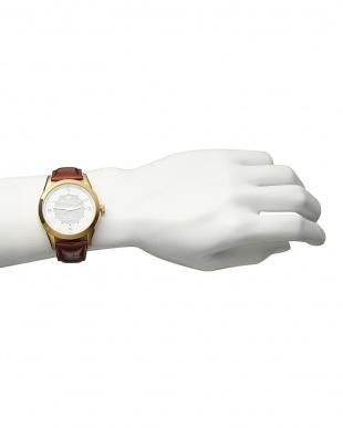 ゴールド/ホワイト  ダイヤ付き ソーラー電波腕時計 085|MEN見る