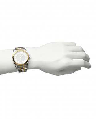 ゴールド/ホワイト  ダイヤ付き ソーラー電波腕時計 096|MEN見る