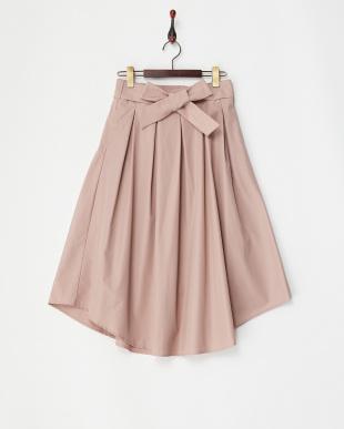 ピンク  リボンベルト付きボックスタックフレアスカート見る