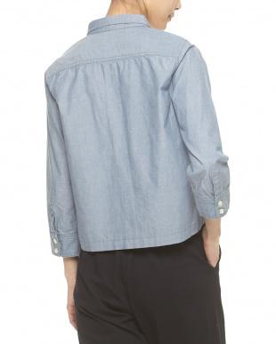 ブルー クロップトダンガリーシャツ見る